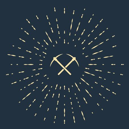 Beige Crossed pickaxe icon isolated on dark blue background. Blockchain technology, cryptocurrency mining, bitcoin, altcoins, digital money market. Abstract circle random dots. Vector Illustration Foto de archivo - 129542699