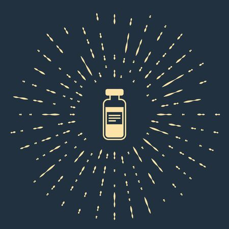Beige Medical vial, ampoule, bottle icon isolated on dark blue background. Vaccination, injection, vaccine healthcare concept. Abstract circle random dots. Vector Illustration