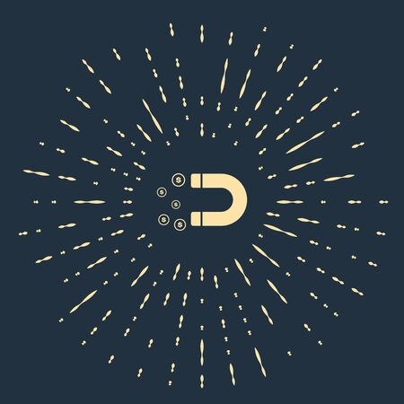 Beige Magnet with money icon isolated on dark blue background. Concept of attracting investments, money. Big business profit attraction and success. Abstract circle random dots. Vector Illustration