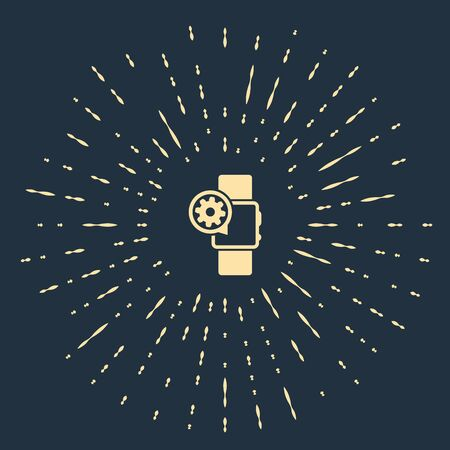Beige Smartwatch and gear icon isolated on dark blue background. Adjusting app, service concept, setting options, maintenance, repair, fixing. Abstract circle random dots. Vector Illustration Banque d'images - 129541485
