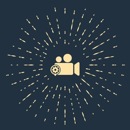 Beige Movie or Video camera and gear icon on dark blue background. Adjusting app, service concept, setting options, maintenance, repair, fixing. Abstract circle random dots. Vector Illustration Standard-Bild - 129541484