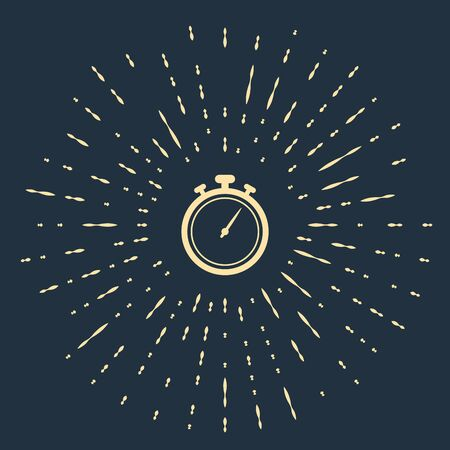 Beige Stopwatch icon isolated on dark blue background. Time timer sign. Chronometer sign. Abstract circle random dots. Vector Illustration