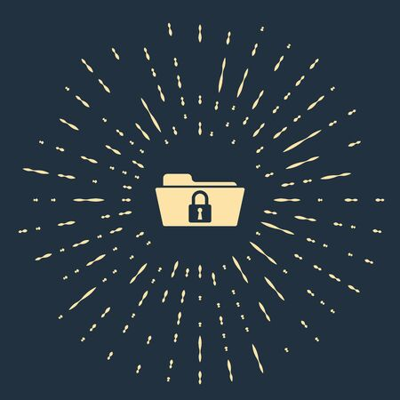 Beige Folder and lock icon isolated on dark blue background. Closed folder and padlock. Security, safety, protection concept. Abstract circle random dots. Vector Illustration