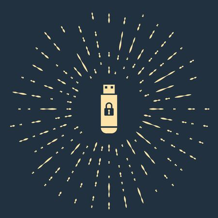 Beige USB flash drive with closed padlock icon isolated on dark blue background. Security, safety, protection concept. Abstract circle random dots. Vector Illustration Ilustração