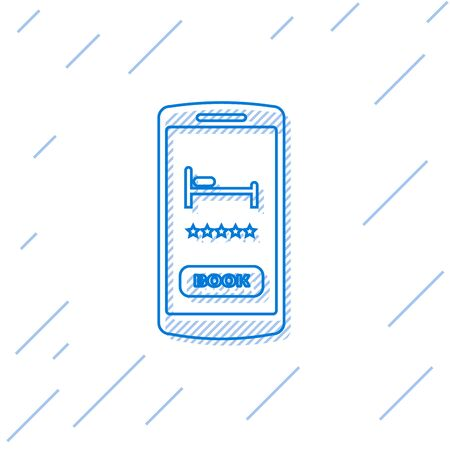 Blue line Online hotel booking icon isolated on white background. Online booking design concept for mobile phone. Vector Illustration  イラスト・ベクター素材