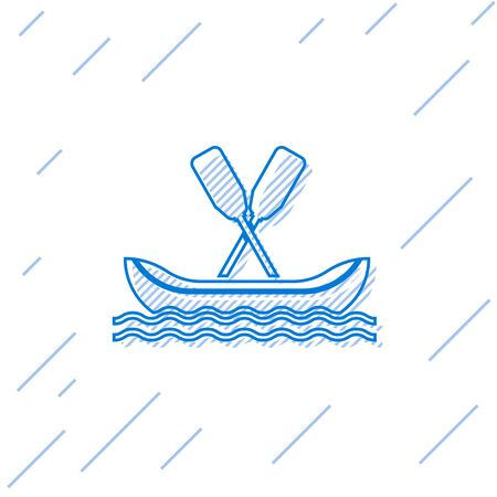 Blue line Rafting boat icon isolated on white background. Kayak with paddles. Water sports, extreme sports, holiday, vacation, team building. Vector Illustration