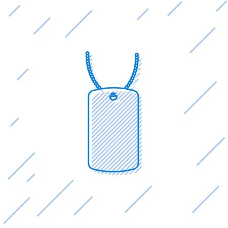 Blue line Military dog tag icon isolated on white background. Identity tag icon. Army sign. Vector Illustration