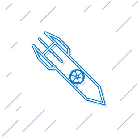 Blue line Nuclear rocket icon isolated on white background. Rocket bomb flies down. Vector Illustration