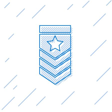Blue line Chevron icon isolated on white background. Military badge sign. Vector Illustration