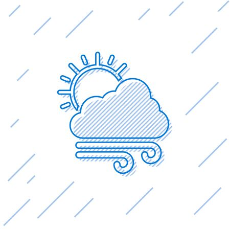Blue line Windy weather icon isolated on white background. Cloud with sun and wind. Vector Illustration