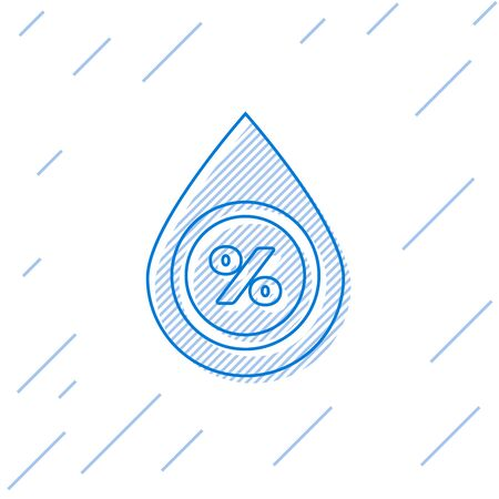 Blue line Water drop percentage icon isolated on white background. Humidity analysis. Vector Illustration