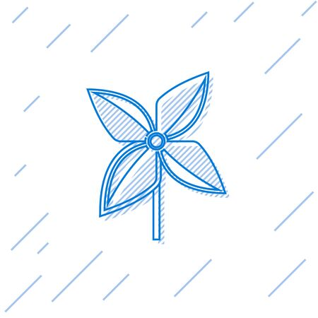 Blue line Pinwheel icon isolated on white background. Windmill toy icon. Vector Illustration