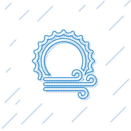 Blue line Wind and sun icon isolated on white background. Windy weather. Vector Illustration