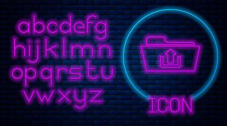 Glowing neon Folder upload icon isolated on brick wall background. Neon light alphabet. Vector Illustration