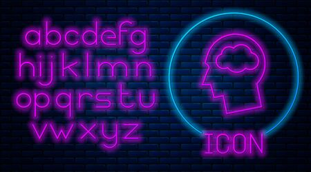 Glowing neon Head silhouette with cloud icon isolated on brick wall background. Dreaming sign. Neon light alphabet. Vector Illustration