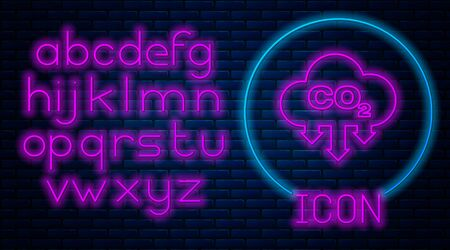 Glowing neon CO2 emissions in cloud icon isolated on brick wall background. Carbon dioxide formula symbol, smog pollution concept, environment concept. Neon light alphabet. Vector Illustration Ilustrace