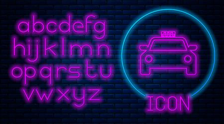 Glowing neon Taxi car icon isolated on brick wall background. Neon light alphabet. Vector Illustration