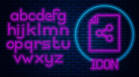 Glowing neon Share file icon isolated on brick wall background. File sharing. File transfer sign. Neon light alphabet. Vector Illustration Stock Illustratie