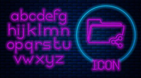 Glowing neon Share folder icon isolated on brick wall background. Folder sharing. Folder transfer sign. Neon light alphabet. Vector Illustration Stock Illustratie