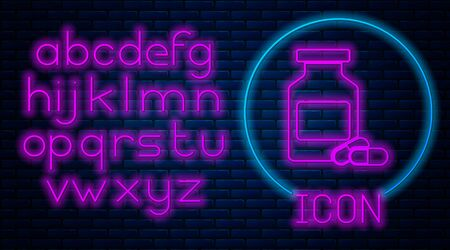 Glowing neon Medicine bottle and pills icon isolated on brick wall background. Bottle pill sign. Pharmacy design. Neon light alphabet. Vector Illustration