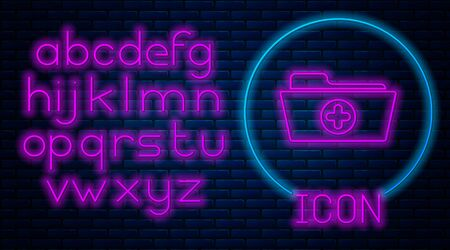Glowing neon Medical health record folder for healthcare icon isolated on brick wall background. Patient file icon. Medical history symbol. Neon light alphabet. Vector Illustration  イラスト・ベクター素材