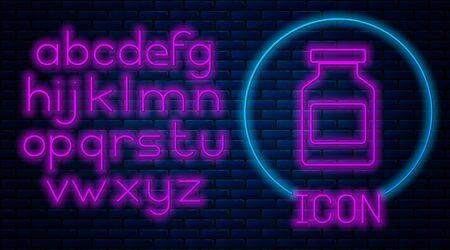 Glowing neon Medicine bottle icon isolated on brick wall background. Bottle pill sign. Pharmacy design. Neon light alphabet. Vector Illustration Ilustração