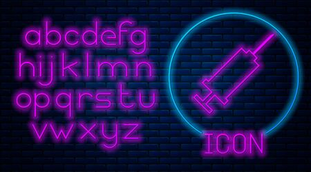 Glowing neon Syringe icon isolated on brick wall background. Syringe for vaccine, vaccination, injection, flu shot. Medical equipment. Neon light alphabet. Vector Illustration