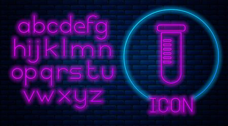Glowing neon Test tube or flask - chemical laboratory test icon isolated on brick wall background. Laboratory, scientific glassware sign. Neon light alphabet. Vector Illustration