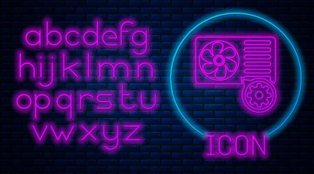 Glowing neon Air conditioner and gear icon isolated on brick wall background. Adjusting app, service concept, setting options, maintenance, repair, fixing. Neon light alphabet. Vector Illustration