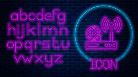 Glowing neon Router and wi-fi signal and gear icon on brick wall background. Adjusting app, service concept, setting options, maintenance, repair, fixing. Neon light alphabet. Vector Illustration Illustration