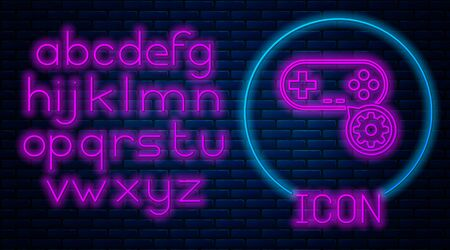Glowing neon Gamepad and gear icon isolated on brick wall background. Adjusting app, service concept, setting options, maintenance, repair, fixing. Neon light alphabet. Vector Illustration