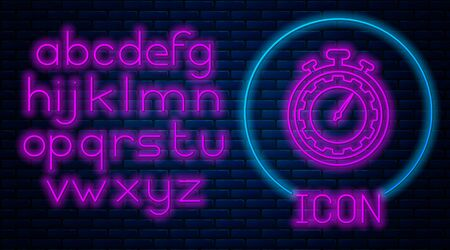 Glowing neon Time Management icon isolated on brick wall background. Clock and gear sign. Productivity symbol. Neon light alphabet. Vector Illustration Stock Illustratie