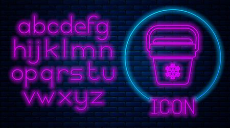 Glowing neon Cooler bag icon isolated on brick wall background. Portable freezer bag. Handheld refrigerator. Neon light alphabet. Vector Illustration