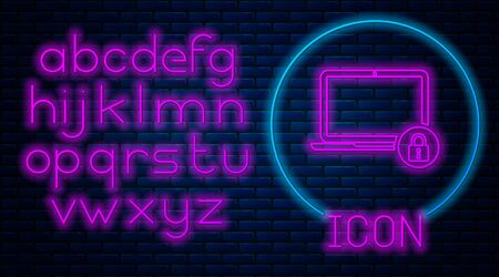 Glowing neon Laptop and lock icon isolated on brick wall background. Computer and padlock. Security, safety, protection concept. Safe internetwork. Neon light alphabet. Vector Illustration Archivio Fotografico - 129591206
