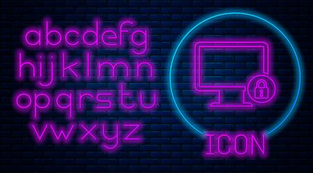 Glowing neon Lock on computer monitor screen icon on brick wall background. Monitor and padlock. Security, safety, protection concept. Safe internetwork. Neon light alphabet. Vector Illustration Archivio Fotografico - 129591203