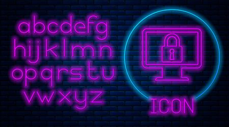 Glowing neon Lock on computer monitor screen icon on brick wall background. Monitor and padlock. Security, safety, protection concept. Safe internetwork. Neon light alphabet. Vector Illustration Stock Illustratie