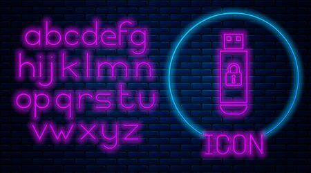 Glowing neon USB flash drive with closed padlock icon isolated on brick wall background. Security, safety, protection concept. Neon light alphabet. Vector Illustration Stock Illustratie
