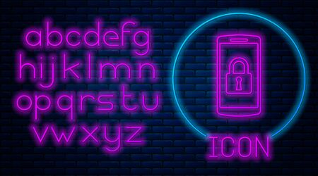 Glowing neon Smartphone with closed padlock icon isolated on brick wall background. Phone with lock. Mobile security, safety, protection concept. Neon light alphabet. Vector Illustration Stock Illustratie