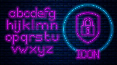 Glowing neon Shield security with lock icon isolated on brick wall background. Protection, safety, password security. Firewall access privacy sign. Neon light alphabet. Vector Illustration Archivio Fotografico - 129591216
