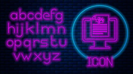 Glowing neon Medical clinical record pet on monitor icon isolated on brick wall background. Health insurance form. Prescription, medical check marks report. Neon light alphabet. Vector Illustration