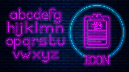 Glowing neon Clipboard with medical clinical record pet icon isolated on brick wall background. Health insurance form. Medical check marks report. Neon light alphabet. Vector Illustration Stock Illustratie