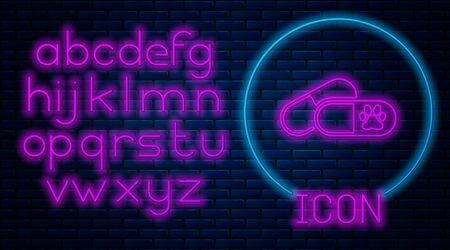 Glowing neon Dog and pills icon isolated on brick wall background. Prescription medicine for animal. Neon light alphabet. Vector Illustration