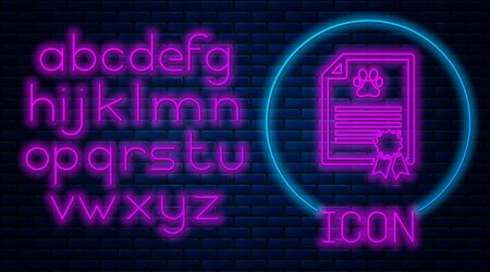 Glowing neon Medical certificate for travel with dog or cat icon isolated on brick wall background. Document for pet. Dog or cat paw print. Neon light alphabet. Vector Illustration