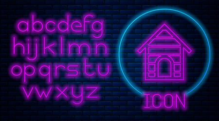 Glowing neon Dog house icon isolated on brick wall background. Dog kennel. Neon light alphabet. Vector Illustration Stock Illustratie