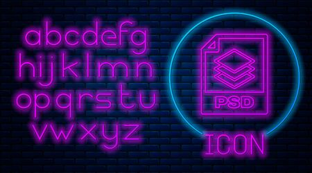 Glowing neon PSD file document. Download psd button icon isolated on brick wall background. PSD file symbol. Neon light alphabet. Vector Illustration Illustration