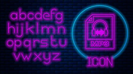 Glowing neon MP3 file document. Download mp3 button icon isolated on brick wall background. Mp3 music format sign. MP3 file symbol. Neon light alphabet. Vector Illustration
