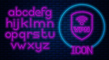 Glowing neon Shield with VPN and wifi wireless internet network symbol icon isolated on brick wall background. VPN protect safety concept. Neon light alphabet. Vector Illustration Archivio Fotografico - 129592536
