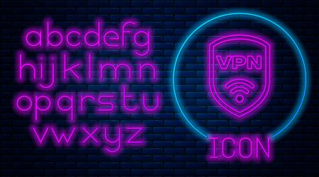 Glowing neon Shield with VPN and wifi wireless internet network symbol icon isolated on brick wall background. VPN protect safety concept. Neon light alphabet. Vector Illustration Archivio Fotografico - 129592540