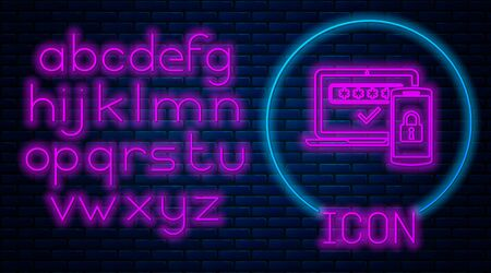 Glowing neon Multi factor, two steps authentication icon isolated on brick wall background. Neon light alphabet. Vector Illustration