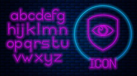 Glowing neon Shield and eye icon isolated on brick wall background. Security, safety, protection, privacy concept. Neon light alphabet. Vector Illustration Archivio Fotografico - 129592647